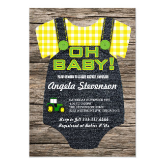 Plow Farmer Tractor Baby shower invitation