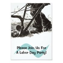 Plow Labor Day Party Invitations Ploughing Fields