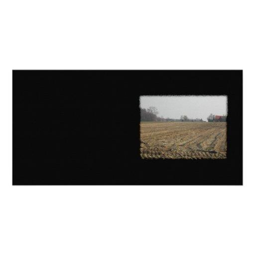 Plowed Field in Winter. Scenic. Custom Photo Card