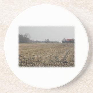 Plowed Field in Winter. Scenic. Drink Coaster