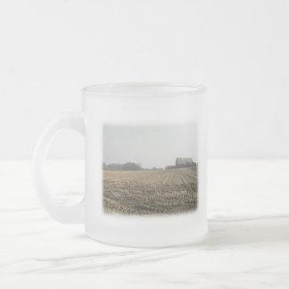 Plowed Field in Winter. Scenic. Frosted Glass Coffee Mug