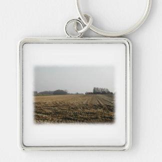 Plowed Field in Winter. Scenic. Keychain