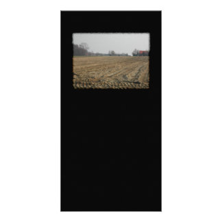 Plowed Field in Winter Scenic Picture Card