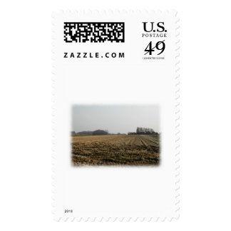 Plowed Field in Winter. Scenic. Stamps
