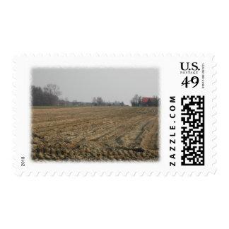 Plowed Field in Winter. Scenic. Postage