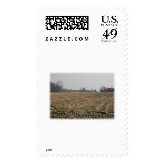 Plowed Field in Winter. Scenic. Stamp