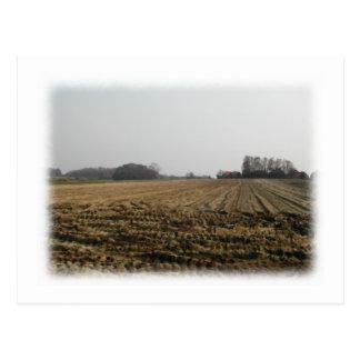 Plowed Field in Winter. Scenic. Postcard