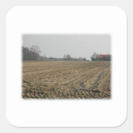 Plowed Field in Winter. Scenic. Square Stickers