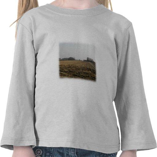 Plowed Field in Winter. Scenic. Tshirts