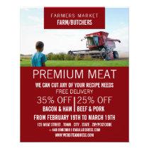 Plower in Field, Farmer & Butcher Advertising Flyer