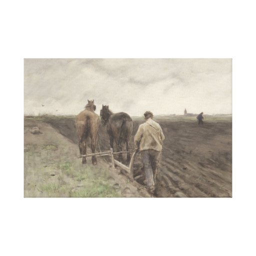 Plowing farmer, Anton Mauve Canvas Print