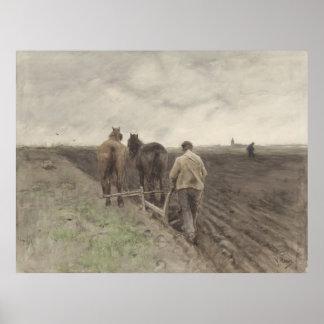 Plowing farmer, Anton Mauve Print