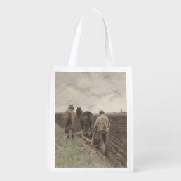 Plowing farmer, Anton Mauve Reusable Grocery Bag