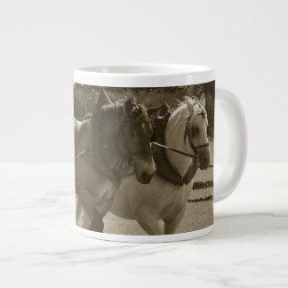 Plowing horses large coffee mug