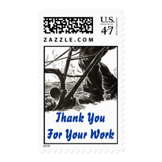 "Plowing Plough ""Laboring""  Thank You STAMPS! Postage"