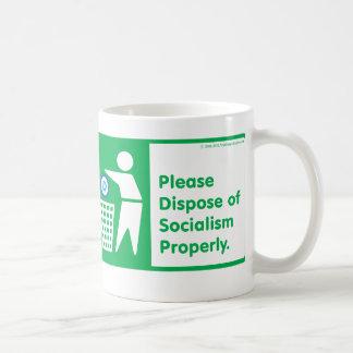 Pls Dispose of Socialism - Dem symbol txt bordered Coffee Mug