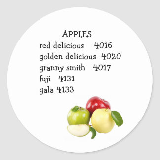 PLU code for apples Classic Round Sticker