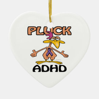Pluck ADHD Awareness Design Double-Sided Heart Ceramic Christmas Ornament