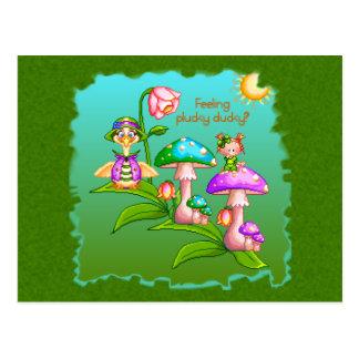 Plucky Ducks Pixel Art Postcard