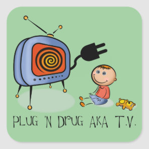 Plug N Drug AKA TV Square Sticker