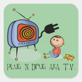 Plug N Drug AKA TV Square Sticker