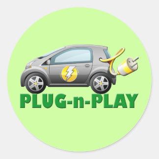 PLUG-N-PLAY ELECTRIC CAR ROUND STICKERS