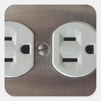 Plug Outlet Square Sticker