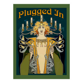 Plugged In Art Deco Man Poster