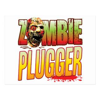 Plugger Zombie Head Postcard
