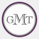 Plum 3 initial letter monogram royal elegant seal classic round sticker