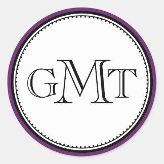 Plum 3 initial letter monogram royal elegant seal sticker