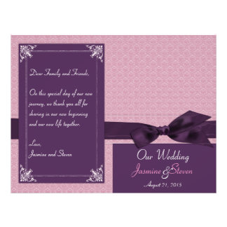Plum and Amethyst Damask Wedding Program Flyer