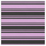 [ Thumbnail: Plum and Black Colored Lines Fabric ]