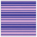 [ Thumbnail: Plum and Blue Colored Striped Pattern Fabric ]