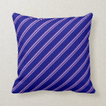 [ Thumbnail: Plum and Blue Colored Stripes Throw Pillow ]