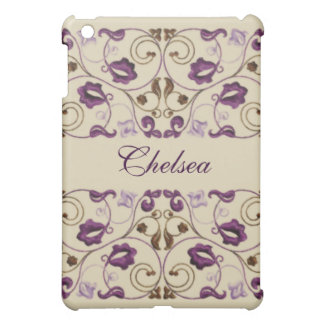 Plum and Brown Vine with Name Cover For The iPad Mini