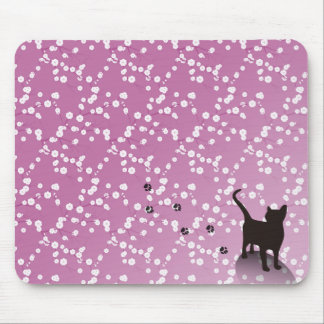 Plum and cat mouse pad