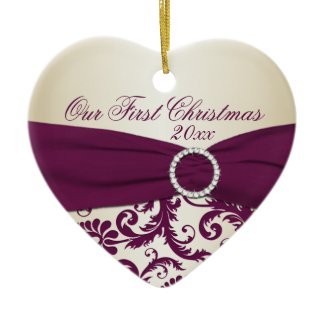 Plum and Champagne Damask First Christmas Ornament ornament