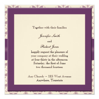"""Plum and Champagne Damask Invitation 5.25"""" Square Invitation Card"""
