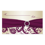 Plum and Champagne Damask Placecards Double-Sided Standard Business Cards (Pack Of 100)
