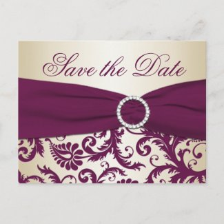 Plum and Champagne Damask Save the Date Postcard postcard