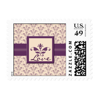 Plum and Champagne Damask Stamp