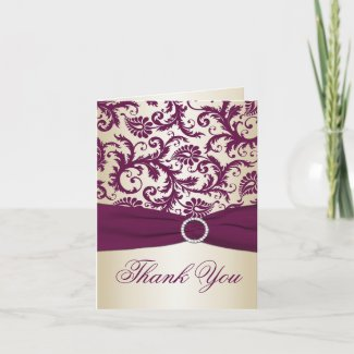 Plum and Champagne Damask Thank You Card card