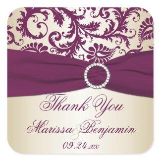 Plum and Champagne Damask Thank You Sticker sticker