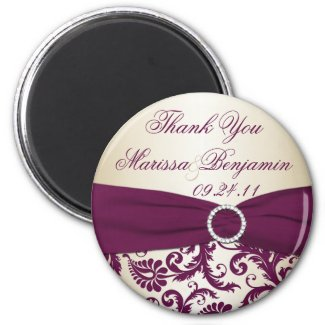 Plum and Champagne Damask Wedding Favor Magnet magnet