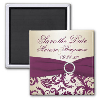 Plum and Champagne Damask Wedding Favor Magnet