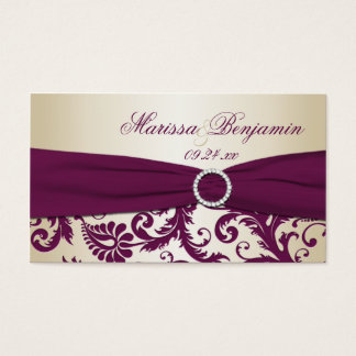 Plum and Champagne Damask Wedding Favor Tag