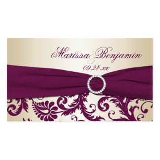 Plum and Champagne Damask Wedding Favor Tag profilecard