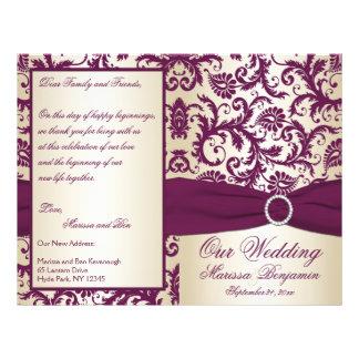 Plum and Champagne Damask Wedding Program