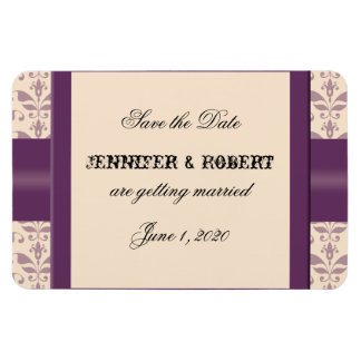 Plum and Champagne Damask Wedding Save the Date Magnet